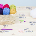 Basic tools and materials for making amigurumis